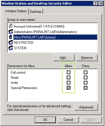 Running winstadacl to show the user SID and logon SID
